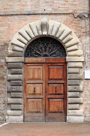 Wooden medieval style front door photo
