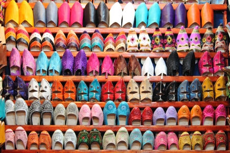 Leather moroccan slippers for sale in a market stall