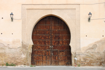 Arabic oriental styled door in Meknes, Morocco photo