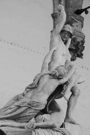 b and w: The Rape of Polyxena statue in Florence, Italy - B W Stock Photo