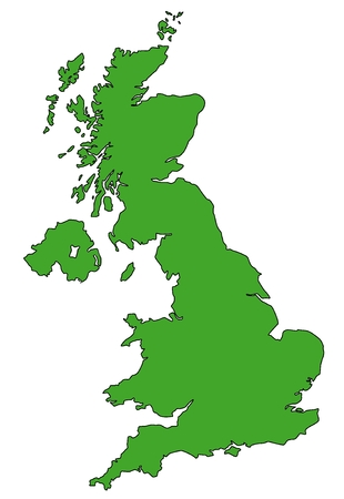Map of UK filled with green color photo