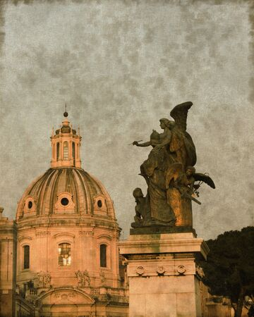 Vintage image of a Church dome and an angel in Rome, Italy photo
