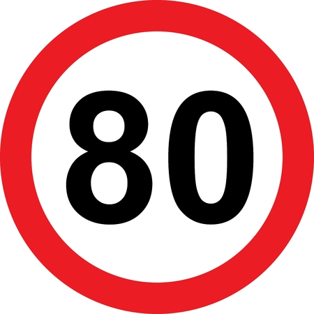 safer: 80 speed limitation road sign on white background