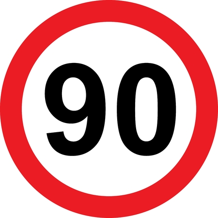 safer: 90 speed limitation road sign on white background