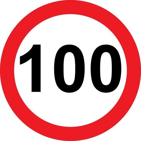 100 speed limitation road sign on white background photo