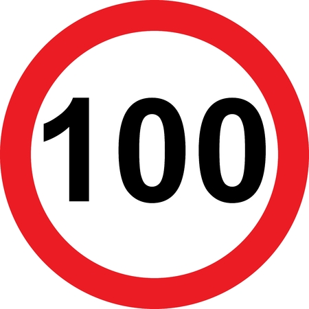 safer: 100 speed limitation road sign on white background