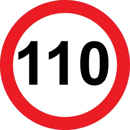 safer: 110 speed limitation road sign on white background