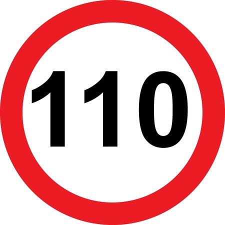 limitation: 110 speed limitation road sign on white background