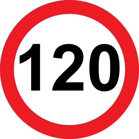 白い背景の上の 120 の速度制限の道路標識 写真素材