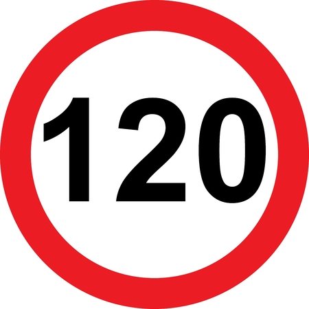 120 speed limitation road sign on white background