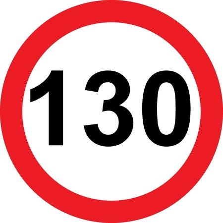 limitation: 130 speed limitation road sign on white background Stock Photo