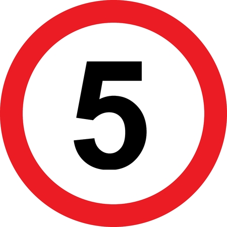5 speed limitation road sign on white  photo