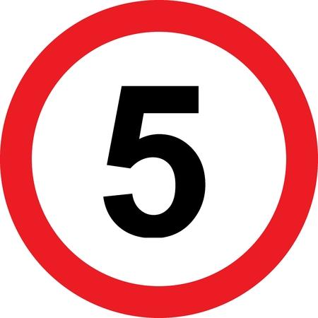 limitation: 5 speed limitation road sign on white  Stock Photo