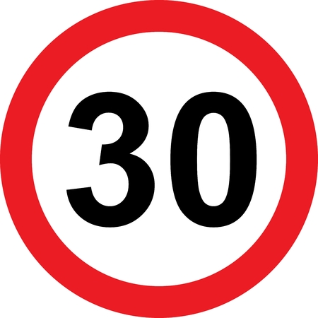 30 speed limitation road sign on white