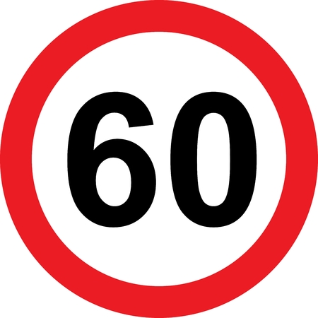 60 speed limitation road sign
