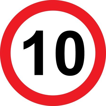 10 limitazione della velocità cartello stradale su bianco Archivio Fotografico - 27583515