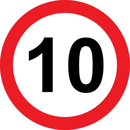 safer: 10 speed limitation road sign on white