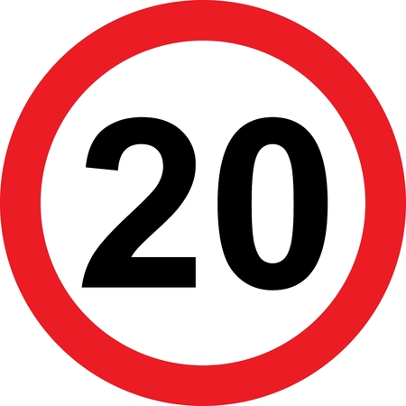 safer: 20 speed limitation road sign on white