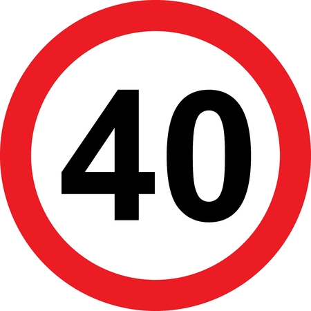mile: 40 speed limitation road sign on white