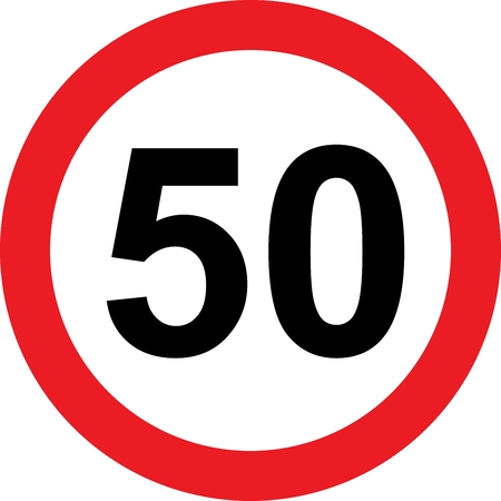 safer: 50 speed limitation road sign on white