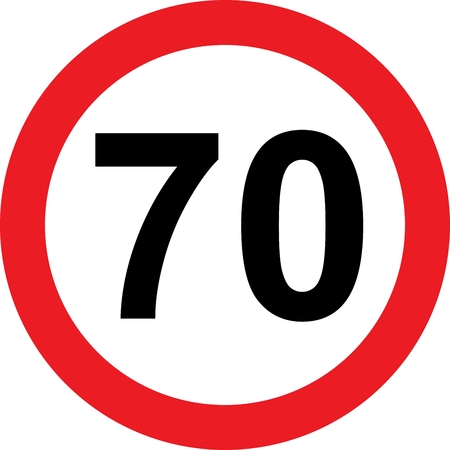 70 speed limitation road sign on white photo