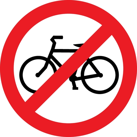 no label: No bicycle street sign