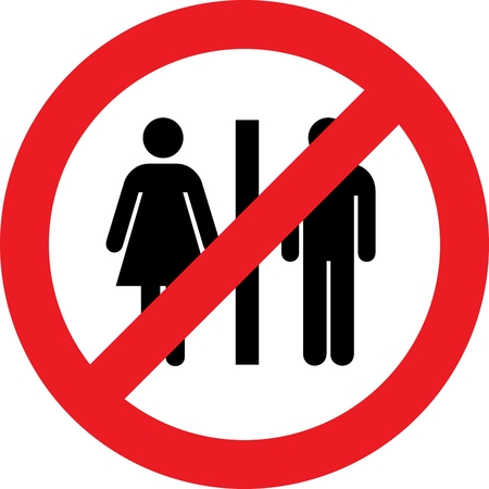 No toilets sign with woman and men symbol photo