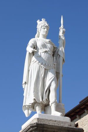 san marino: Statue of Freedom in front of the Town Hall building in San Marino Republic Stock Photo