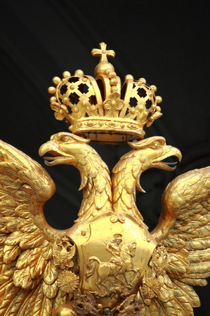 double headed eagle: Gold double eagle on the gate of the Hermitage Editorial