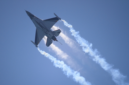 ROME - JUNE 28  A F-16 of the Netherland Air Force performs at the Rome International Air Show on June 28, 2014 in Rome, Italy