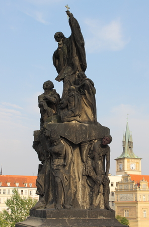 st charles: Statue of St. Francis Xaverius in Charles bridge, Prague