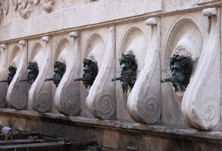 spitting: Perspective view of Calamo fountain in Ancona, Italy