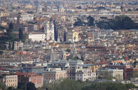 trinita: Panoramic view of Rome with Trinita Stock Photo