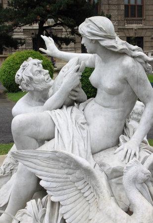 nymphet: Vienna, Austria - July 21, 2011: Triton and Nereid fountain in Vienna, Austria Editorial