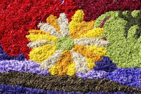 spello: Multicolored floral carpet made with flower petals Stock Photo