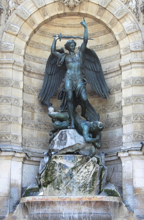 saint michael: Saint Michael fountain in Paris, France Stock Photo