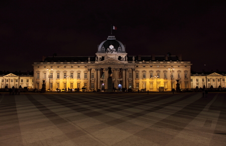 night school: The Military School Ecole Militaire, 1750 by night in Paris, France