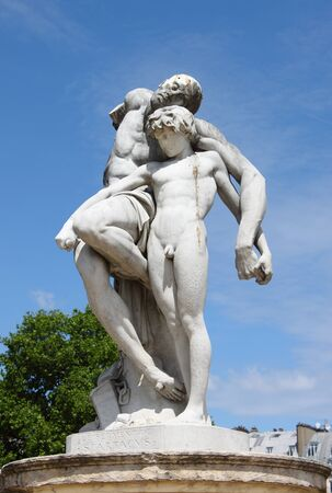 statuary: Spartacus Statue in Tuileries Gardens of Paris