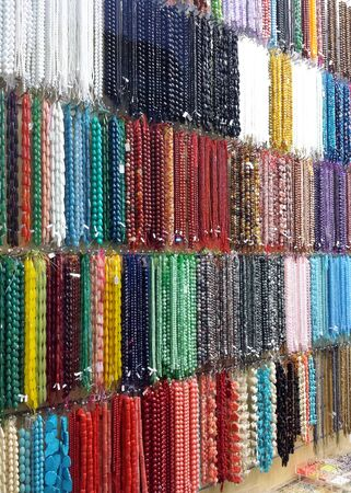 colorful beads: Colorful beads for sale in a fashion shop Stock Photo