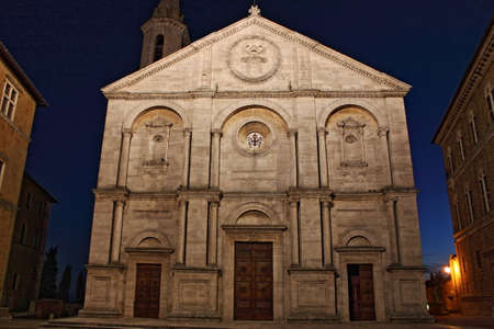 pienza: Cathedral of Pienza by night, Tuscany - HDR