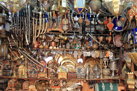 fes: Copper artisans shop in Fes, Morocco Stock Photo