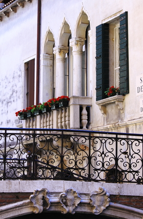 balcony window: Typical renaissance window with balcony in Venice, Italy