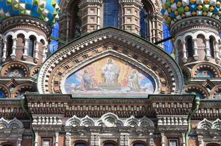 Facade of the Church of the Saviour on Spilled Blood in Saint Petersburg, Russia