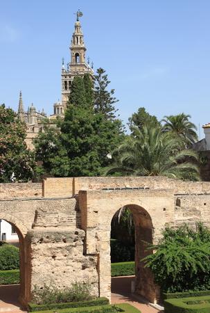 alcazar: Giralda Bell Tower from Real Alcazar Gardens. Sevilla, Spain