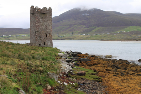 Kildavnet castle in Achill Island. County Mayo, Ireland Stock Photo