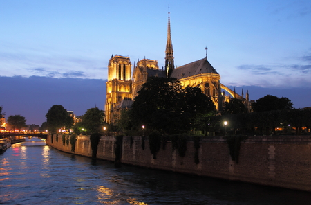 gargoyles: Notre Dame Cathedral at sunset. Paris, France Stock Photo