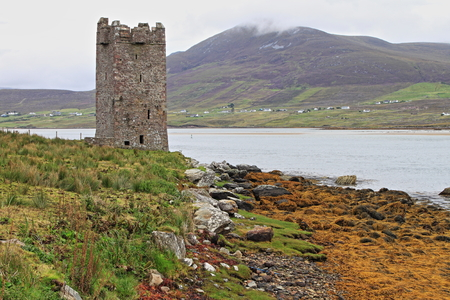 achill: Kildavnet castle in Achill Island. County Mayo, Ireland - HDR