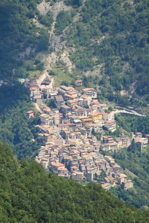 lazio: Aerial view of Vallepietra. Lazio, Italy Stock Photo