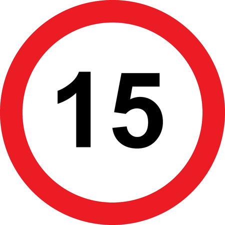 15 speed limitation road sign on white background