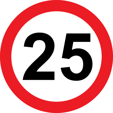 25 speed limitation road sign on white background